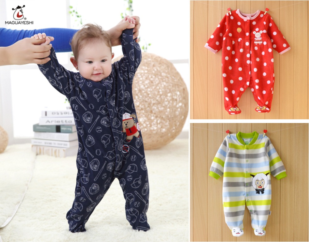 2016 Chirstmas Autumn Winter Baby Rompers Clothes Long Sleeved Newborn Boy Girl Polar Fleece Baby Jumpsuit Newborn Baby Clothing(China (Mainland))