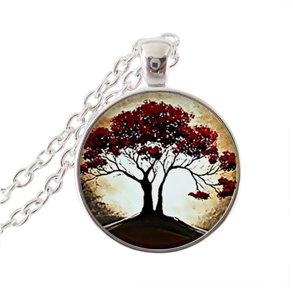 Tree jewelry red oak photo necklace tree of life pendant necklace silver chain long necklaces women accessories jewellery gifts(China (Mainland))