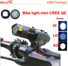 Mini Led Light Q5 flashlight torch CREE Q5 zoom LED Cycling Bike Bicycle light lamp With Mount(China (Mainland))