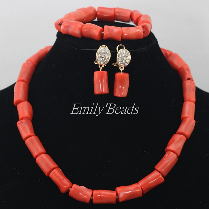 2015 Pretty African Wedding Jewelry Set Coral Beads Necklace Set Nigerian Beaded Necklace Jewelry Full Set Free Shipping CJ453<br><br>Aliexpress