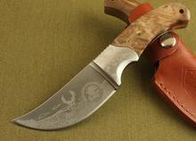 Alta calidad 440 OEM Browning rinoceronte africano cuchillo de caza hoja fija cuchillo que acampa al aire 0126 latón mango de madera