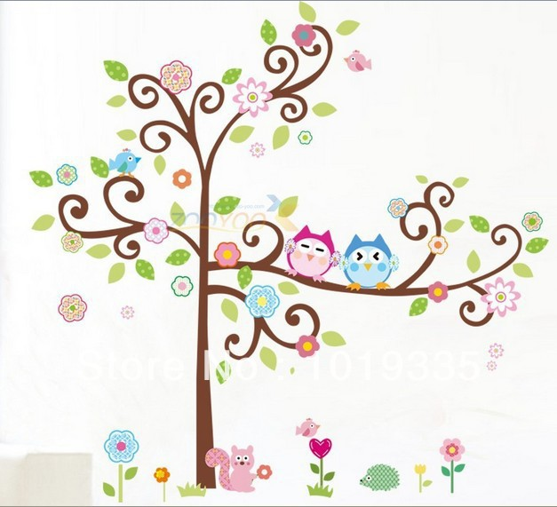 Bedroom wall stickers tree - Buy Stickers For Children Removable Wall Stickers Cartoon Owl Tree