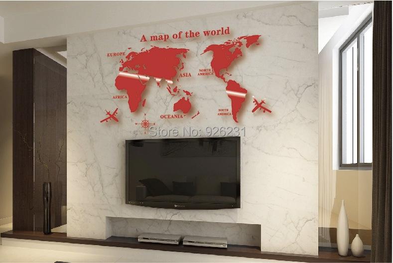 acrylic waterproof stereoscopic wall stickers 3d world map wall