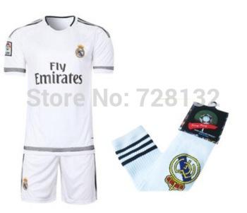 15 16 NEW Real Madrid home KIDS MESSI Kids Youth bale ronaldo isco jersey shirt,short,Sock set 2016 children football full Kit(China (Mainland))