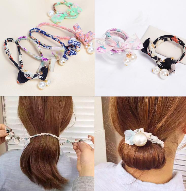 2016 Retro pearl floral bow DIY jewelry knot headwrap korean headwear pearl headband women hair accessories(China (Mainland))
