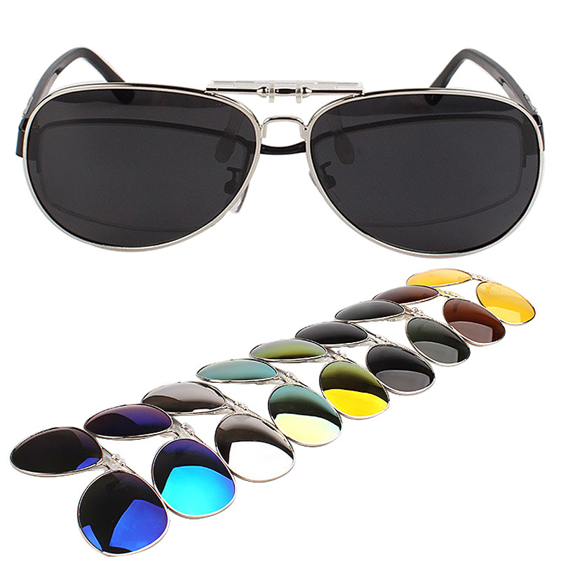 Multicolor Film Polarized Men's Sunglasses Large Frame Can Be Turned On Sun Glasses Clip Driving Glass Night Vision Clip