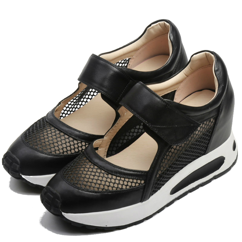 Фотография full grain genuine leather flat heel single shoes women 2016 black silver mesh patchwork hook & loop casual platform flatties