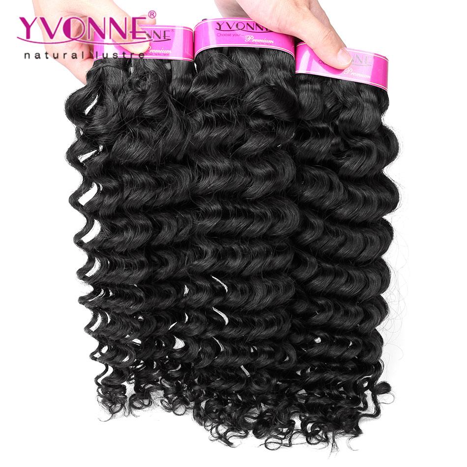 4Pcs/lot Deep Wave Virgin Peruvian Hair,100% Remy Human Hair Extension,Top Quality Aliexpress YVONNE Hair,Natural Color(China (Mainland))