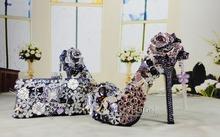 handmade jeweled peacock luxury rhinestone high heels purple crystal wedding bridal shoes with matching bag(China (Mainland))