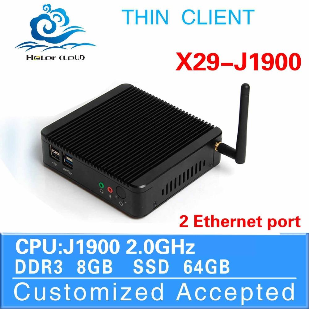 Computer Mini PC J1900 2*RJ-45 Windows Laptop Computer 8G RAM 64G SSD wifi Thin Client Mini Pc(China (Mainland))