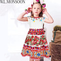 W L MOSNOON Girls Princess Dress with Appliques Flowers 2017 Brand Summer Children Dress for Kids