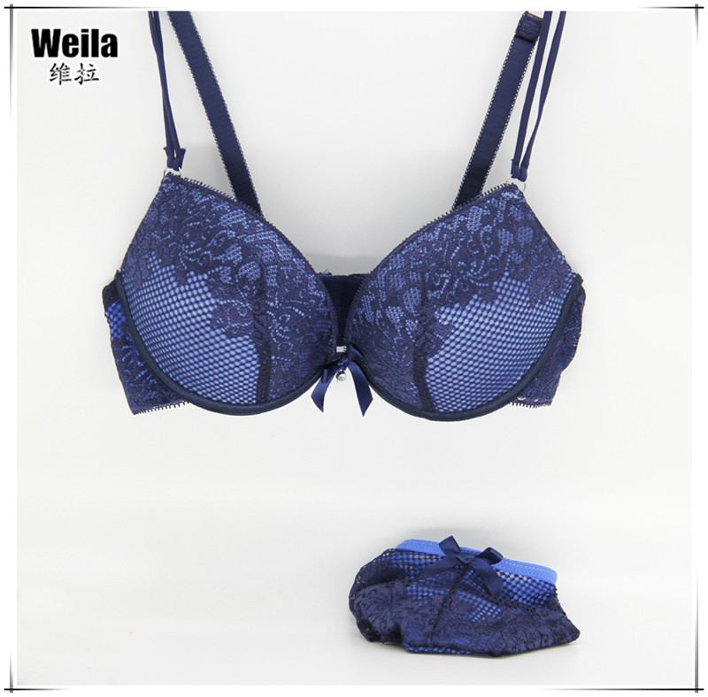 New 2015 Fashion lace bra brief sets sexy thin deep V-neck push up bra set Big Size Cup B C lingerie Six Color(China (Mainland))