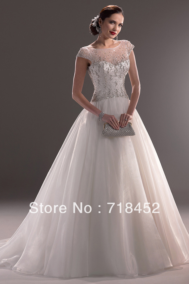 Beaded bridal wedding dress sheer top a line organza cap for Top of the line wedding dresses