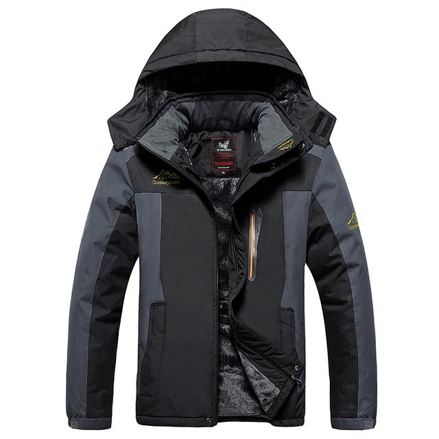 Зима куртка, большие размер мужчины на открытом воздухе черный спорт куртка ветрозащитный ...