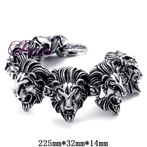 Wholesale New Lion Dragon Fashion jewelry Silicone Rubber Silver Slippy Hollow Strip Grain ray band Stainless Steel Men Bracelet(China (Mainland))