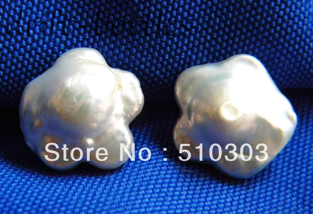 16 MM White Reborn Baroque Freshwater Pearl Silver Stud Earrings 925 - China beautiful-women jewelry factory store
