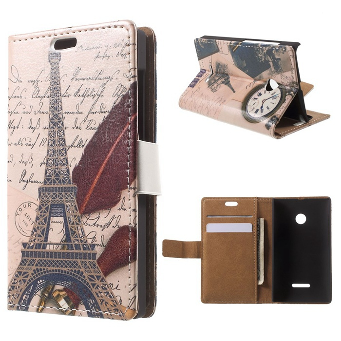 2015 New Luxury Phone Case For Nokia Lumia 532 Building Pattern Leather Wallet Cover for Microsoft Lumia 532 / 532 Dual SIM(China (Mainland))