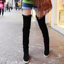 2016 Moda Largo Botas de Nieve Caliente 3 Colores Mujeres Rodilla botas Planas zapatos de Tacón botas Sobre la Rodilla Botas Zapatos de Las Cuñas Botas de Mujer 35-41(China (Mainland))