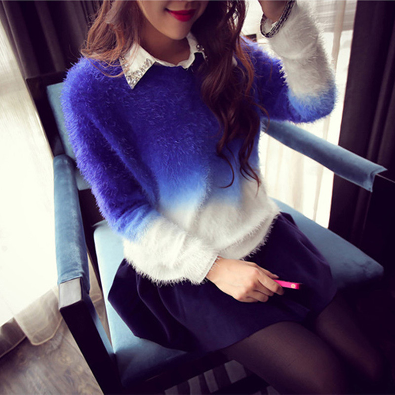New Arrival Women Gradient Color Sweaters Long Wool Women Tops And Pullovers Fashion O-Neck Female Poncho Winter Clothes(China (Mainland))