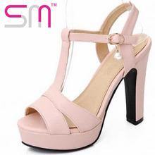 2016  high thick heels women gladiator sandals summer platform buckle strap rhinestone fashion bohemia fashion summer sandals