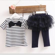 font b Children s b font Wear New Girls Stripe Bow Suit T shirt Net