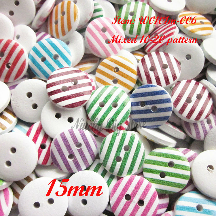 100pcs Mixed multicolor 15mm white colored stripe series stripe wood buttons home decor / scrapbooking accessories loose buttons(China (Mainland))