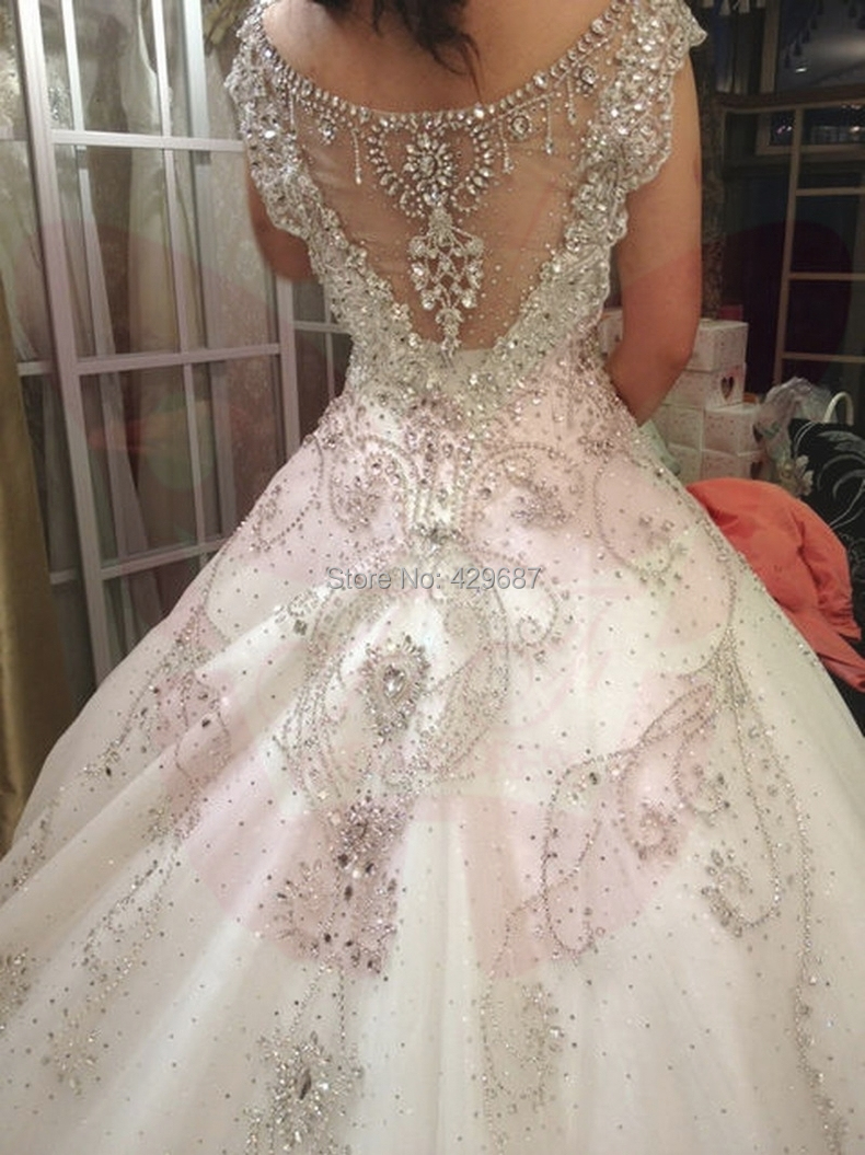 Luxury 2015 wedding dresses v tulle beaded crystal bridal for Crystal design wedding dresses price