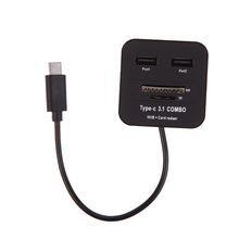 USB 3.1 Type C Hub + Card Reader Combo - 2 USB Ports 1 SD Slot 1 TF Slot Free Shipping(China (Mainland))