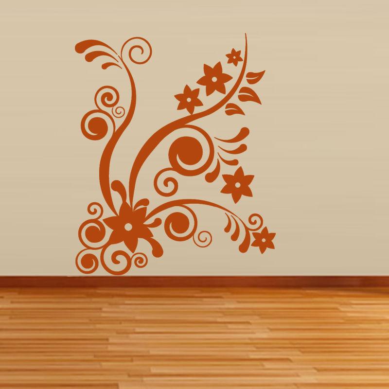 DIY Orange Swirl Vines Star Shape Flower Wall Sticker Art Vinyl Waterproof Home Decor For Living Room(China (Mainland))