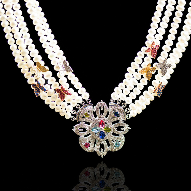 Luxury Freshwater Pearl Necklace Sterling Silver 925 Color Zircon Flower Pendant Evening Pearl Collar Necklace AJ-TNN018<br><br>Aliexpress