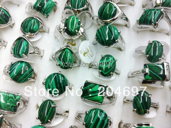 Mix 50pcs Natural Malachite Stone Alloy Rings Fashion Exquisite Lady's Ring Wholesale Lots Free Shipping