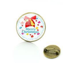 TAFREE Buon Natale Spille Semplice Bronzo Placcato Spilli rotondo di vetro cabochon dome gioiello Distintivo uomo donna Gioelleria raffinata e alla moda CM192(China)