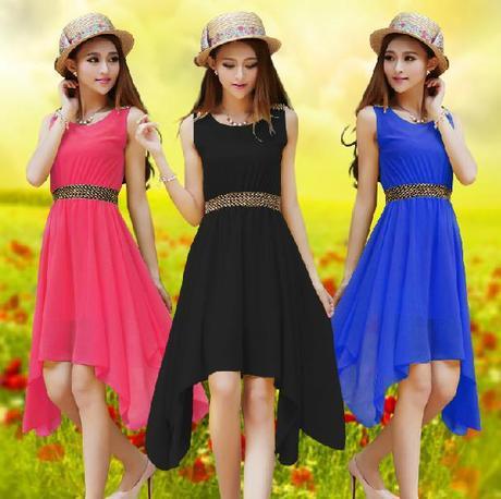 2015 Women Dress Chiffon Sleeveless Pure Hue Tank Casual Summer - Hami clothing co., LTD store