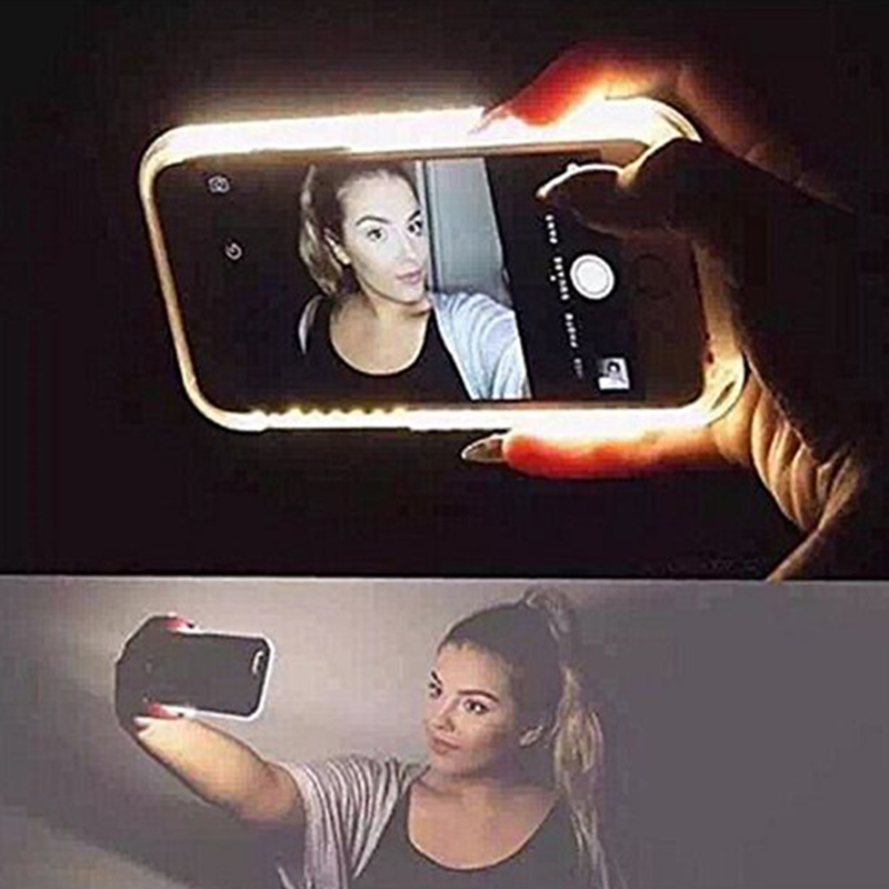 "Fashion LED Flash Selfie Case For Samsung Galaxy S7 Edge S6 Edge Plus for iPhone 6 6S 4.7"" Plus 5.5"" 5S SE Cell Phone Case Cover(China (Mainland))"