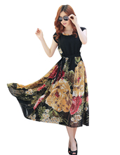 Buy Women Dress Summer Party Dress Vestidos Ladies Elegant 2016 Women Beach Chiffon Long Maxi Dress Floral Plus Size for $24.00 in AliExpress store