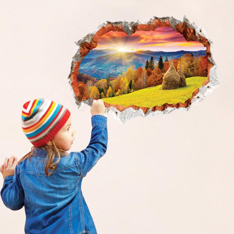 2016 hot sale adesivo de parede mountain sunlight wall for Wallpaper decor for sale