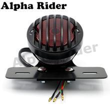 "Motofans - 4"" BLACK GRILL ROUND METAL MOTORCYCLE TAIL BRAKE LIGHT FOR HARLEY BOBBER CHOPPER CUSTOM CAFE RACER APRILIA MANA 850(China (Mainland))"