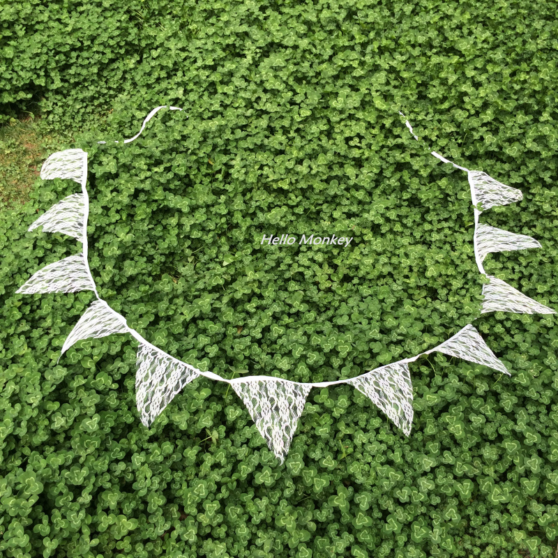 11 Flags 3.8M Lace Fabric Banners Personality Wedding Bunting Decor Vintage Party Birthday Baby Show Garland Decoration(China (Mainland))