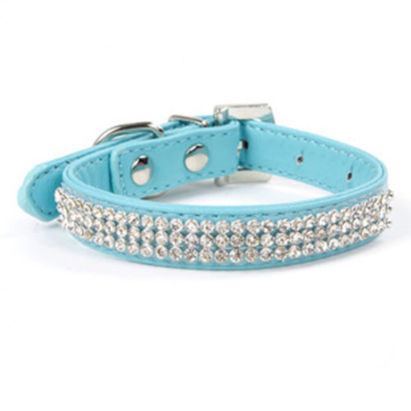 Fashion Bling Rhinestone Design Pet Collars for Small Dog, PU Leather Crystal Collar Puppy Dogs Shining Pet Supplies(China (Mainland))