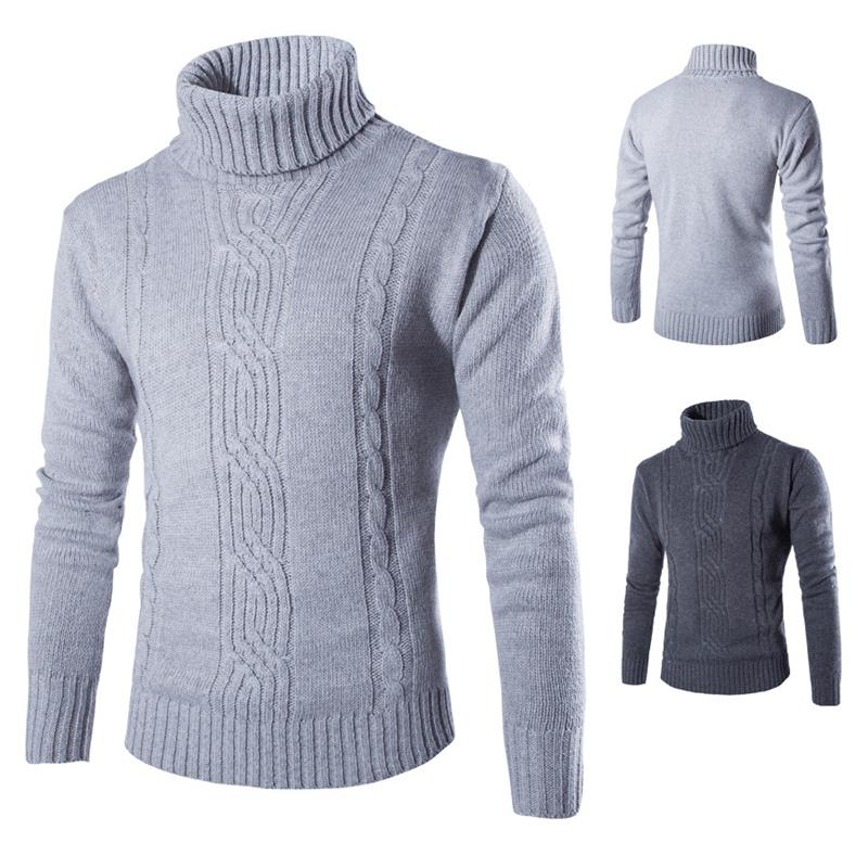New Arrival 2016 Mens Sweaters And Pullovers Casual Solid Knitted Clothing Turtleneck Turn Down Collar Slim Fit Men Sweaters(China (Mainland))