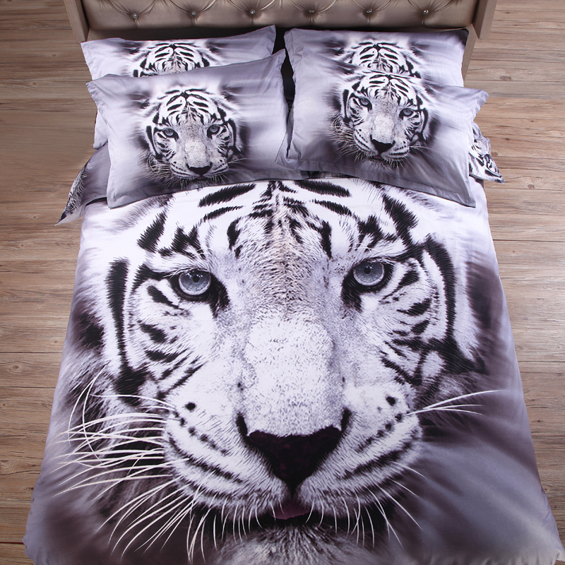 gray & white tiger 3d animal bedding sets Cotton sheet pillowcase quilt cover 4pc Linens set(China (Mainland))