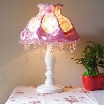 Princess sewing lamps, led table light pink fabric wooden children bedroom bedside lamp<br>