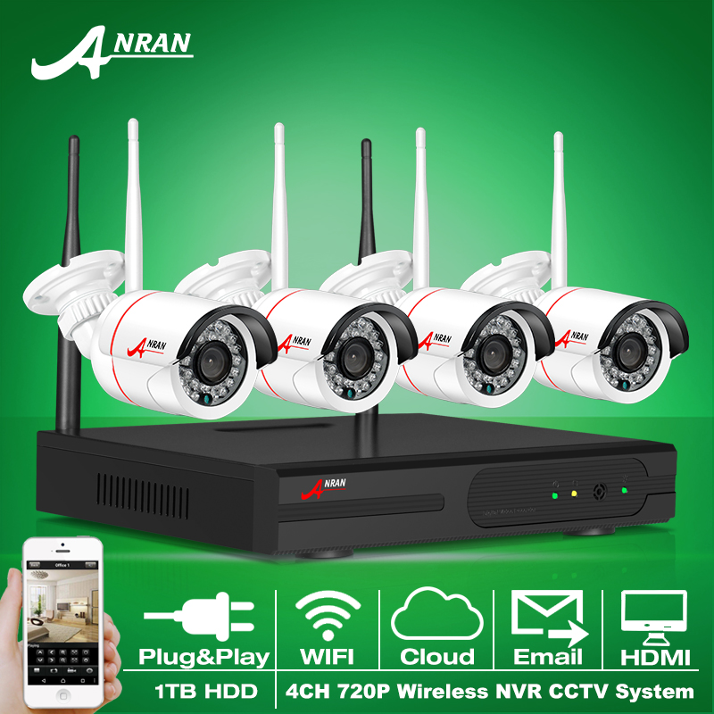 New Listing Anran Plug and Play Wireless NVR Kit P2P 720P HD Outdoor IR Night Vision Security IP Camera WIFI CCTV System 1TB HDD(China (Mainland))