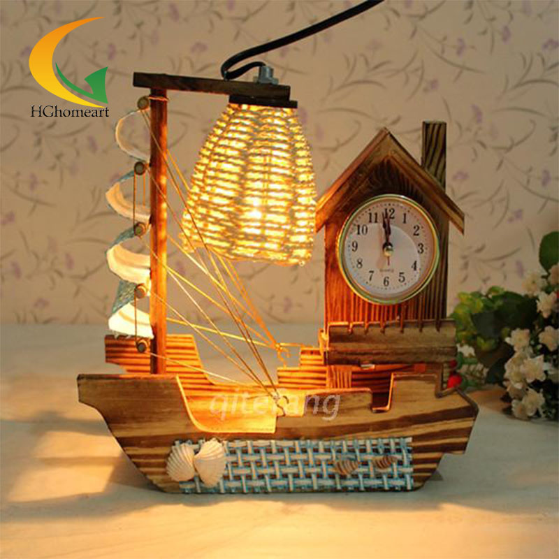 Eight music box pastoral wood bedroom bedside Salt lamps decorative lamp gift ideas vintage wooden sailboat(China (Mainland))