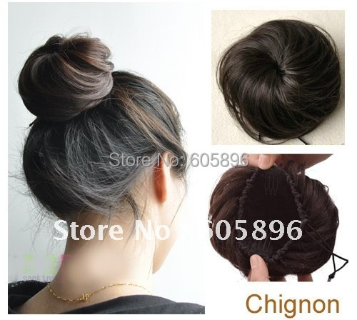 Free shipping-BIG SALE!  fashion Girls synthetic hair chignon hair extension black,brownish black,browns 4colors-summer hot!<br><br>Aliexpress