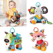 Marionetas de mano del bebé cuna remolque felpa muñeca de juguete educativo multifuncional sonajeros L69