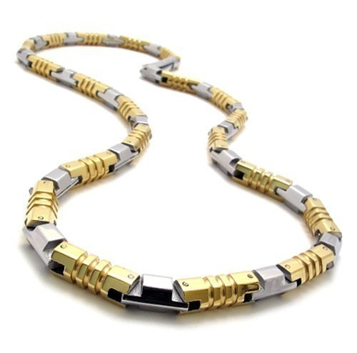 Men's 316L Stainless Steel Solid Bar Linked Chains Necklaces Jewelry ...
