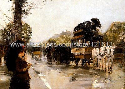 Hassam Frederick April Showers, Champs Elysees Paris Hand Painted Black White Canvas Art Paintings For Living Room Wall(China (Mainland))