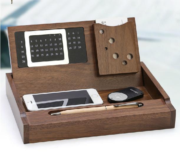 Creative Walnut Wood Wooden Desk Organizers Multifunction Office Supplies Debris Disk Rack