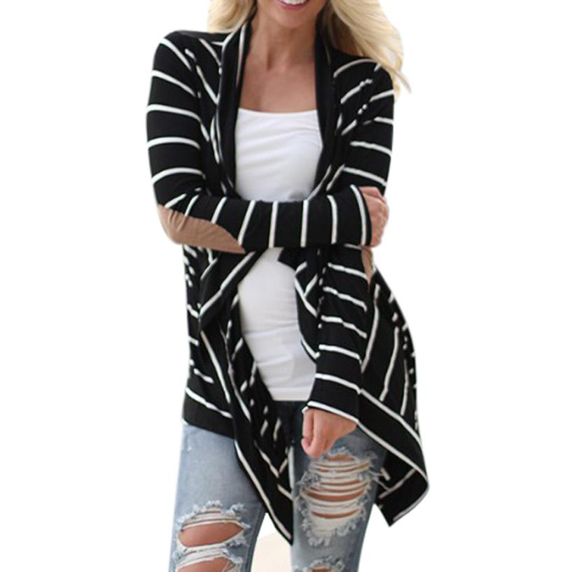 JECKSION Women Jackets 2017 fashion Black white Casual Striped Cardigans Long Sleeve Patchwork Outwear #LN1
